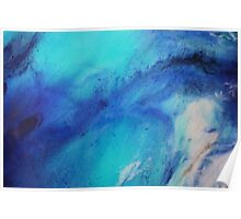 Blue abstract ocean painting Poster