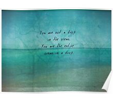 Inspirational Ocean Quote by Rumi  Poster