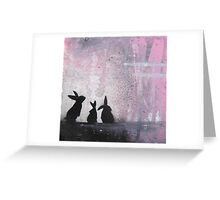 Pink Sky Bunnies Greeting Card