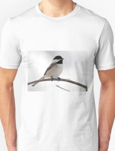 Chickadee on a snowy branch T-Shirt