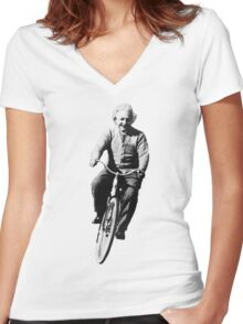 Einstein Riding Bicycle In Space Women's Fitted V-Neck T-Shirt