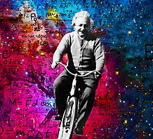 Einstein Riding Bicycle In Space by Doge21
