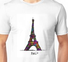 Colorful Paris Eiffel Tower Unisex T-Shirt