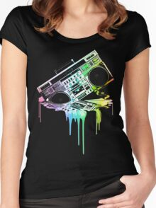 Melting Boombox (vintage distressed look) Women's Fitted Scoop T-Shirt
