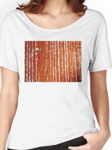 Orange and Red Women's Relaxed Fit T-Shirt