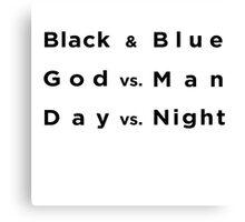 Black and Blue- Batman v Superman Canvas Print