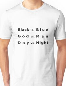 Black and Blue- Batman v Superman Unisex T-Shirt
