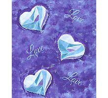 Blue hearts pattern Photographic Print