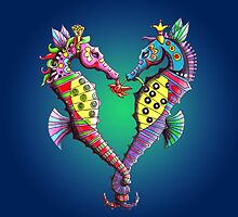 Seahorses in Love by Laural Retz Studio