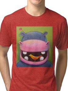 Hippo loves birds Tri-blend T-Shirt