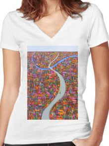 Dance of the city Women's Fitted V-Neck T-Shirt
