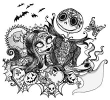 Day of the Dead Jack and Sally Photographic Print