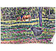 horses and hens in a field Poster