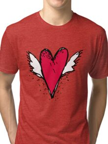 Red heart with wings Tri-blend T-Shirt