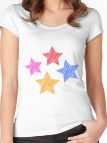 Stars on black Women's Fitted Scoop T-Shirt
