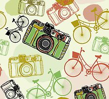 Vintage camera and bicycles by EkaterinaP
