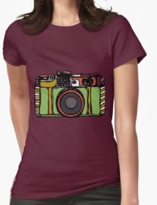 Vintage camera and bicycles Womens Fitted T-Shirt