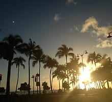 waikiki strip at sunset by LauRBang