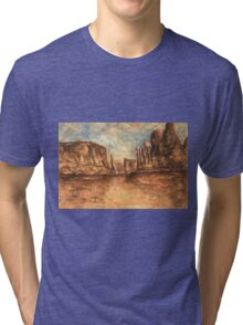 Utah Red Rocks - Landscape Oil Painting Tri-blend T-Shirt