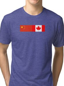 Chinese Canadian Flag - China Canada Celebration Sticker T-Shirt Tri-blend T-Shirt