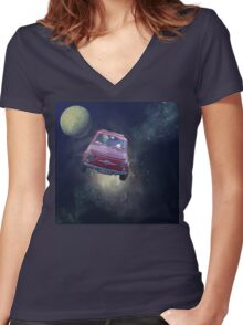 Bella in Space - by Anne Winkler Women's Fitted V-Neck T-Shirt