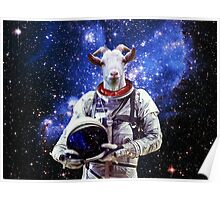 Goat Astronaut In Space Poster
