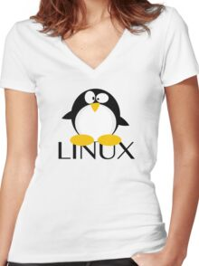 Linux Penguin Women's Fitted V-Neck T-Shirt