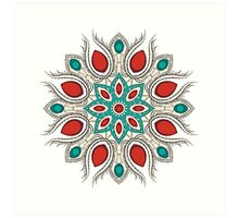 Bright red-turquoise circle ornament Art Print