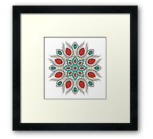 Bright red-turquoise circle ornament Framed Print