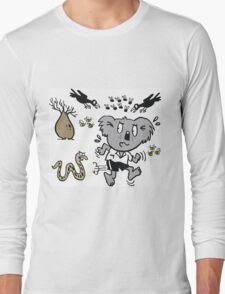Cartoon koala bear running away from dangerous snake Long Sleeve T-Shirt