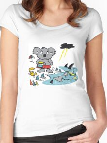 Cartoon koala bear at beach in Australia. Women's Fitted Scoop T-Shirt