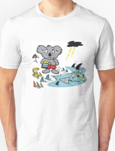Cartoon koala bear at beach in Australia. T-Shirt