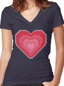 Abstract 8-bit oldschool heart  Women's Fitted V-Neck T-Shirt