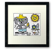 Cartoon of happy koala bear using suntan lotion Framed Print
