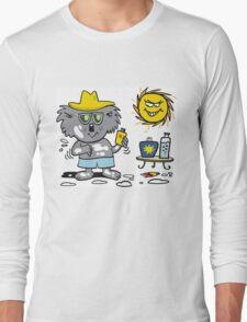 Cartoon of happy koala bear using suntan lotion Long Sleeve T-Shirt