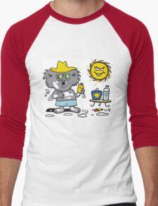 Cartoon of happy koala bear using suntan lotion Men's Baseball ¾ T-Shirt