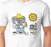 Cartoon of happy koala bear using suntan lotion Unisex T-Shirt