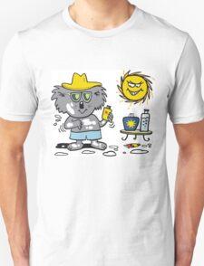 Cartoon of happy koala bear using suntan lotion T-Shirt