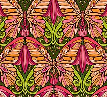 colorful pattern of butterfly and floral elements by Nadiiaz