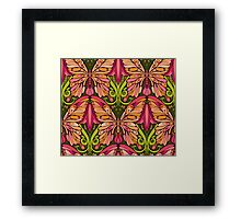 colorful pattern of butterfly and floral elements Framed Print