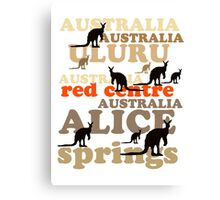 Aussie t-shirt design featuring roos and lettering Canvas Print
