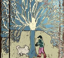Tree, boy and dog by suitgraphic