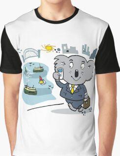 Cartoon of executive koala bear in Sydney city scene Graphic T-Shirt