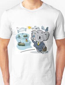 Cartoon of executive koala bear in Sydney city scene T-Shirt