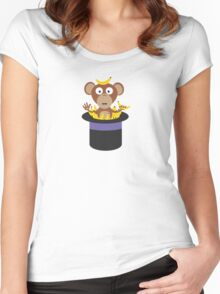 sweet monkey with bananas in hat  Women's Fitted Scoop T-Shirt
