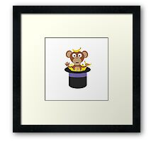 sweet monkey with bananas in hat  Framed Print