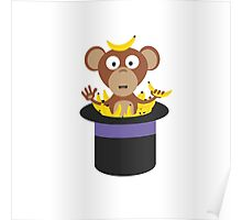 sweet monkey with bananas in hat  Poster