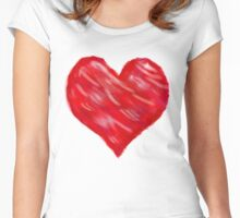 Watercolour Red Heart Women's Fitted Scoop T-Shirt