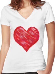 Watercolour Red Heart Women's Fitted V-Neck T-Shirt