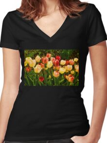 Impressions of Gardens - Particolored Vernal Tulips Women's Fitted V-Neck T-Shirt